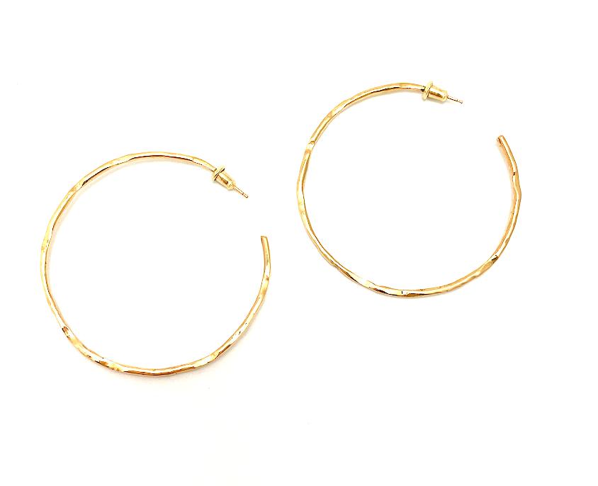 18K Red Gold Hoop Earrings