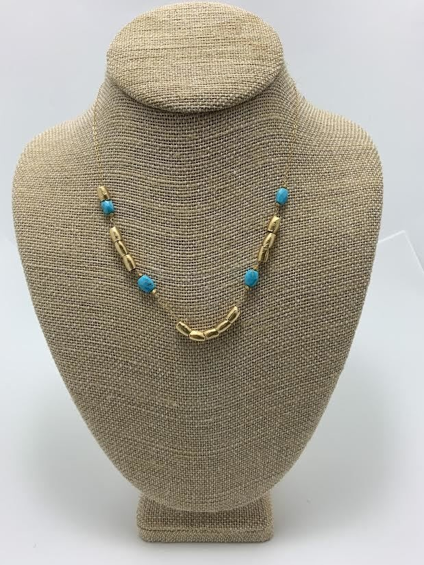 Egyptian Add-a-bead with stone, gold plate