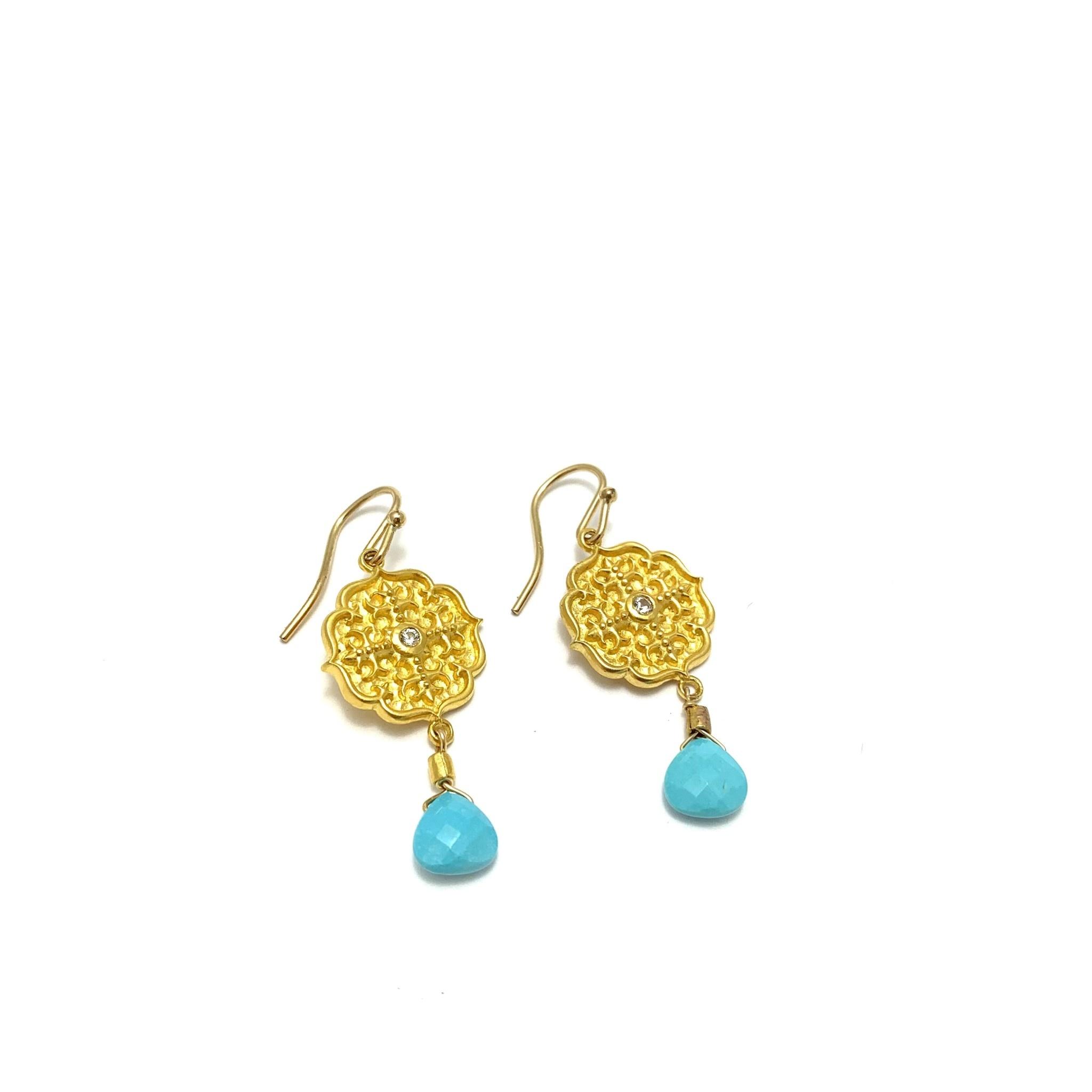 Gold Ear, sm medallion w/white sapp, turq drop, gold plate