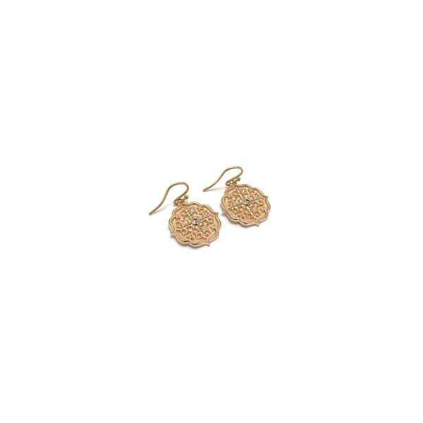 Pink Gold Ear lg medallion w/ white sapp
