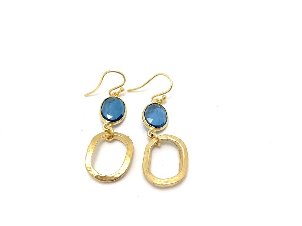 Chunky Link Ear w/ stone, gold plate