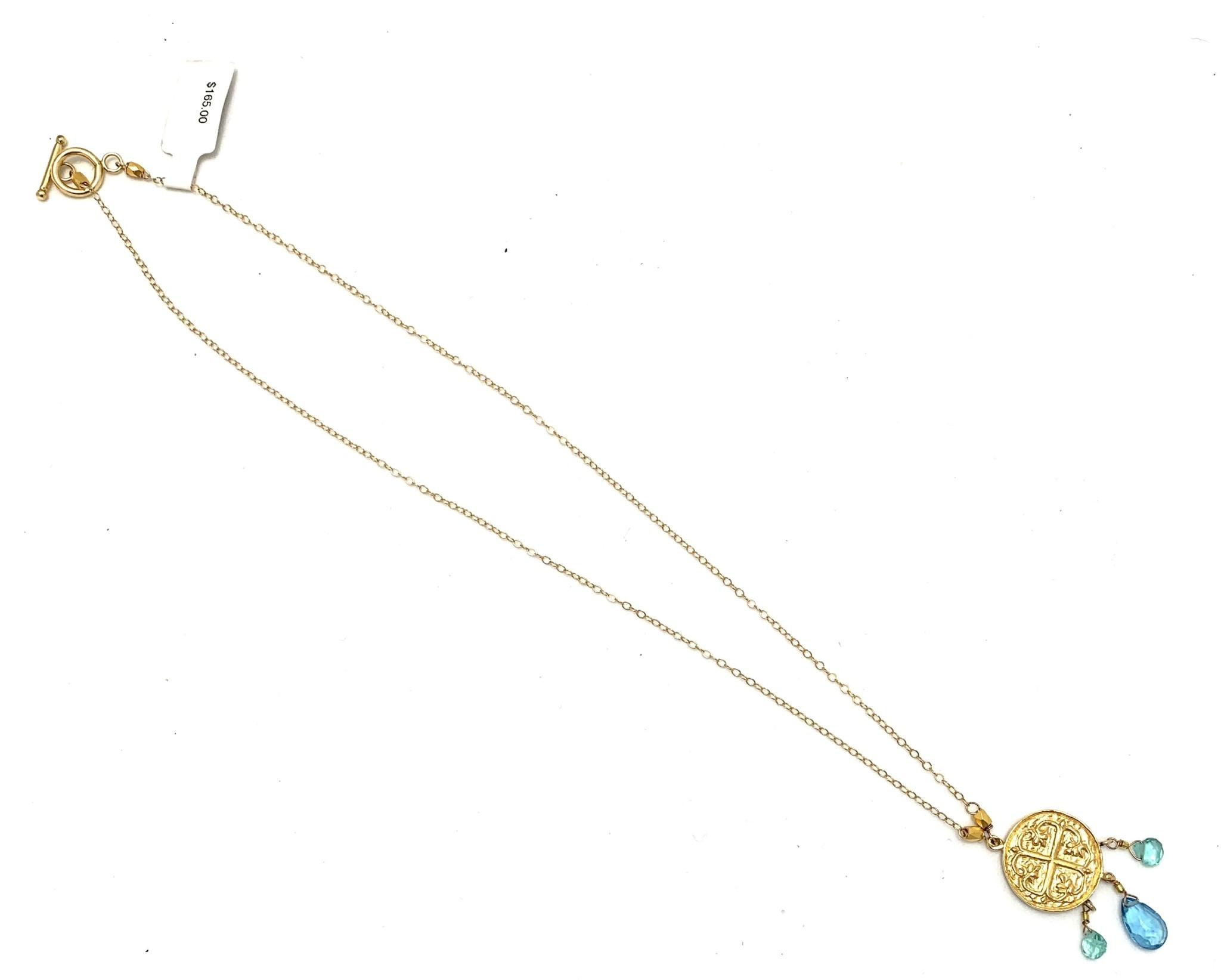 Byzantine Cross Necklace Triple Stone Apatite