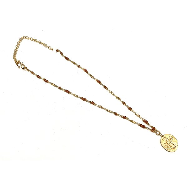 Gold bead, citrine mix with cross medallion, gold plate