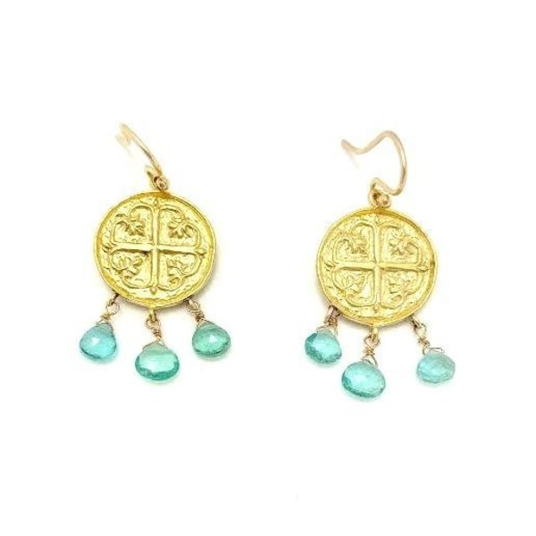 Gold Earrings Triple Stone Apatite Byzantine Cross gold plate