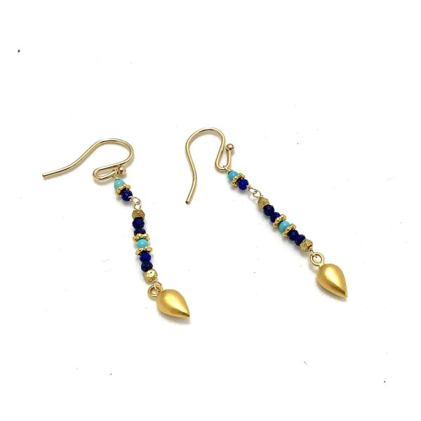 New Mixi, Lapis mix, Earrings, gold plate