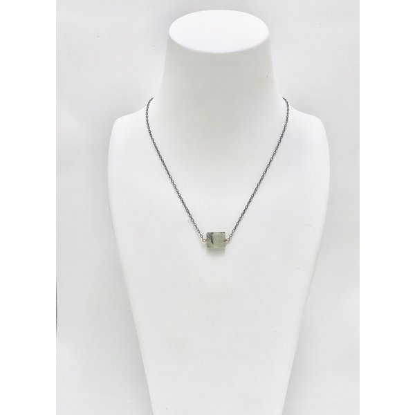 Phrenite on Oxidized Sterling Silver