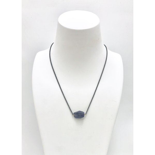 Iolite on Oxidized Sterling Necklace