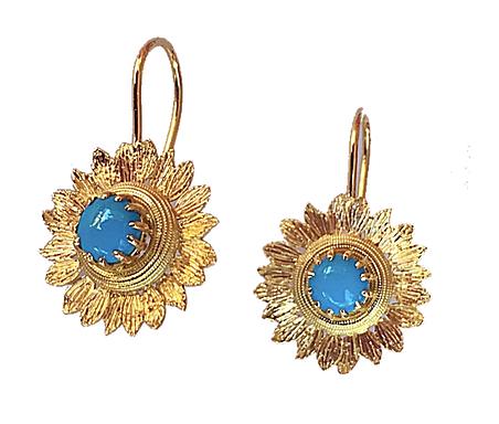 Sleeping Beauty Turquoise Sunflower Earrings