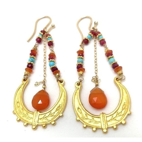 Gold Moroccan Swing Ear w/ carnelian, ruby, turq
