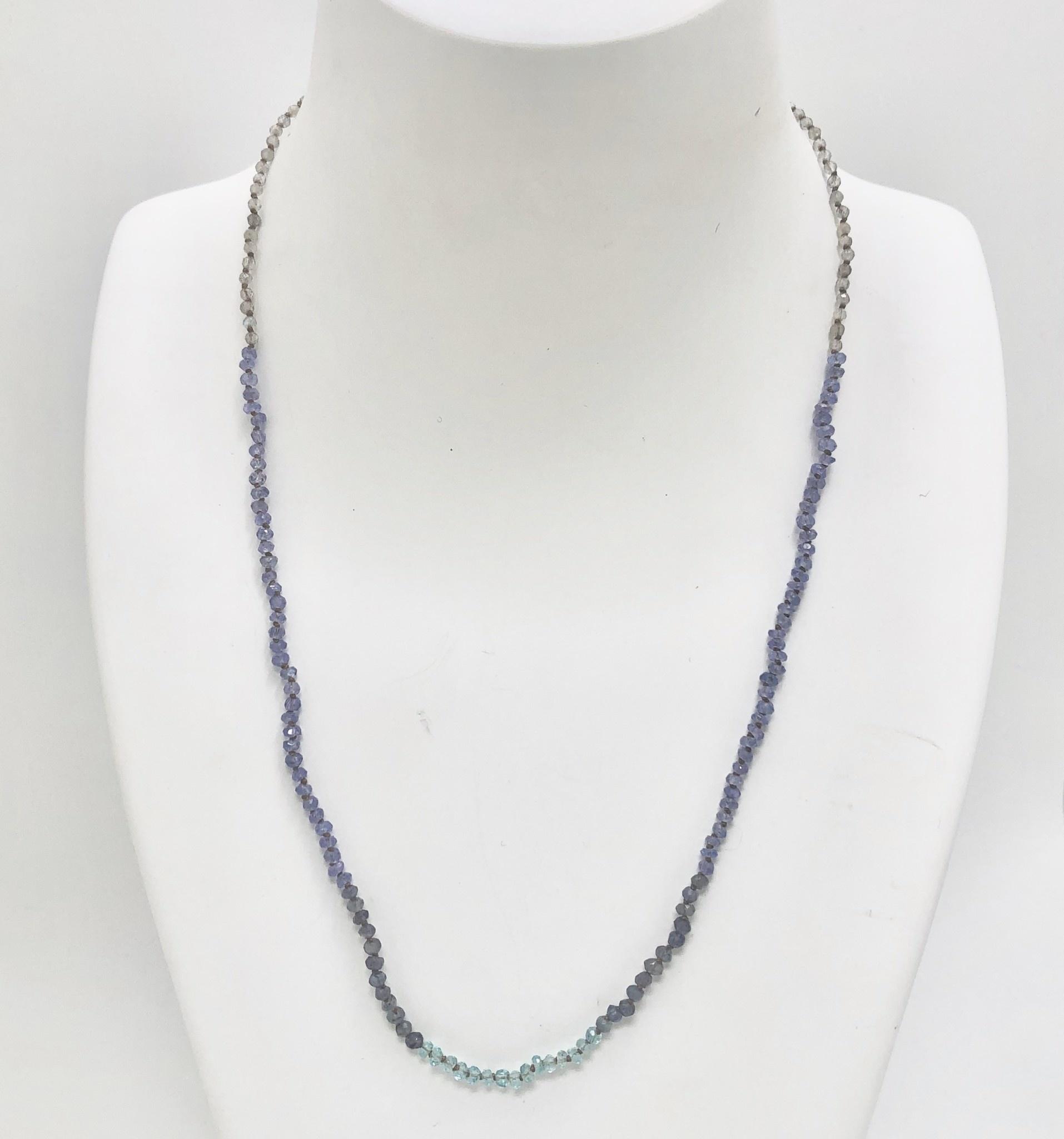 Micro-Labradorite, Tanzanite, Lolite and Apatite Necklace