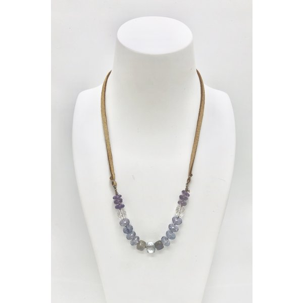 Amethyst, Crystal and Labradorite on Caramel Buckskin Necklace