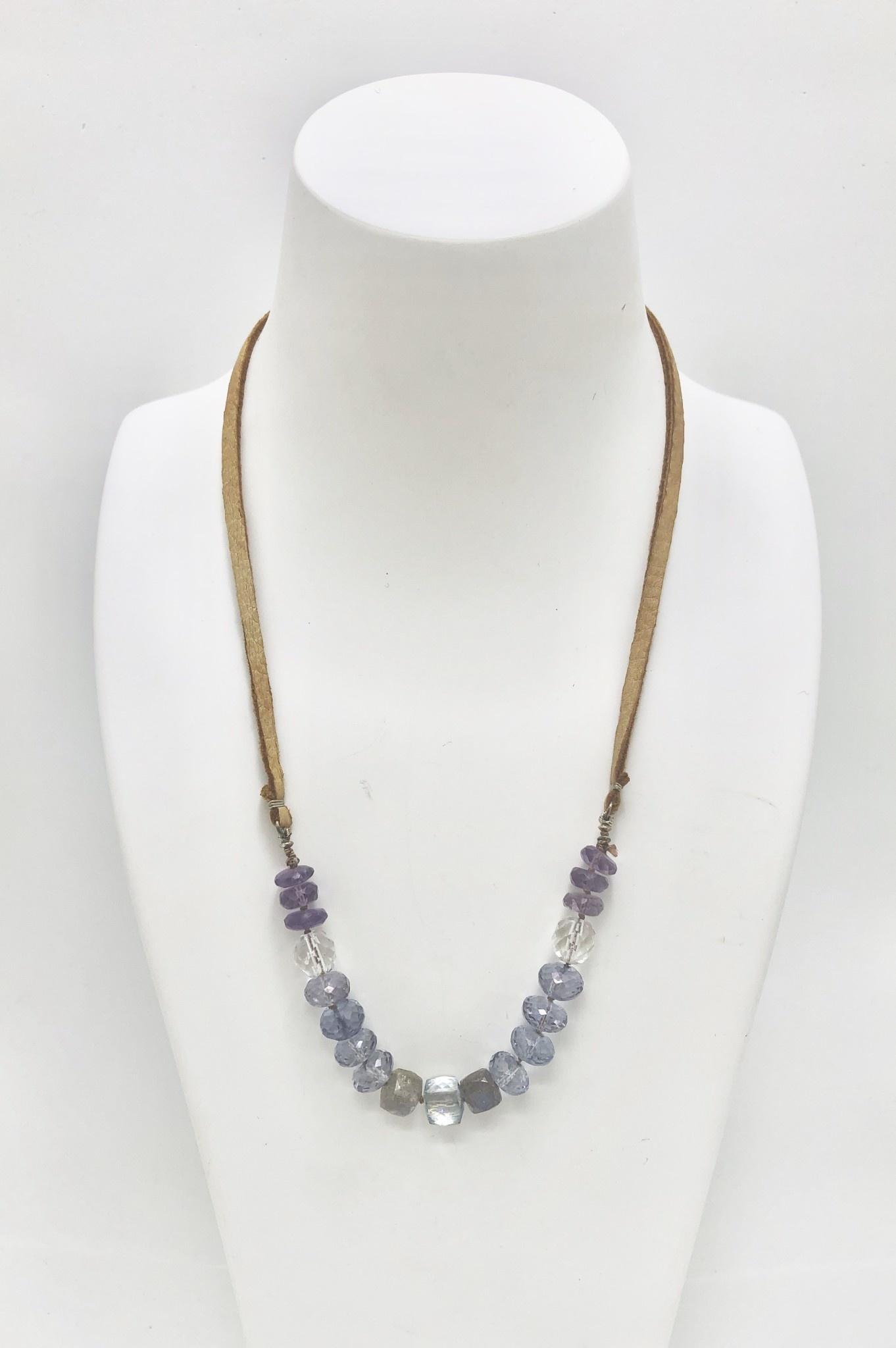 Amethyst, Crystal and Labradorite on Caramel Buckskin Necklace