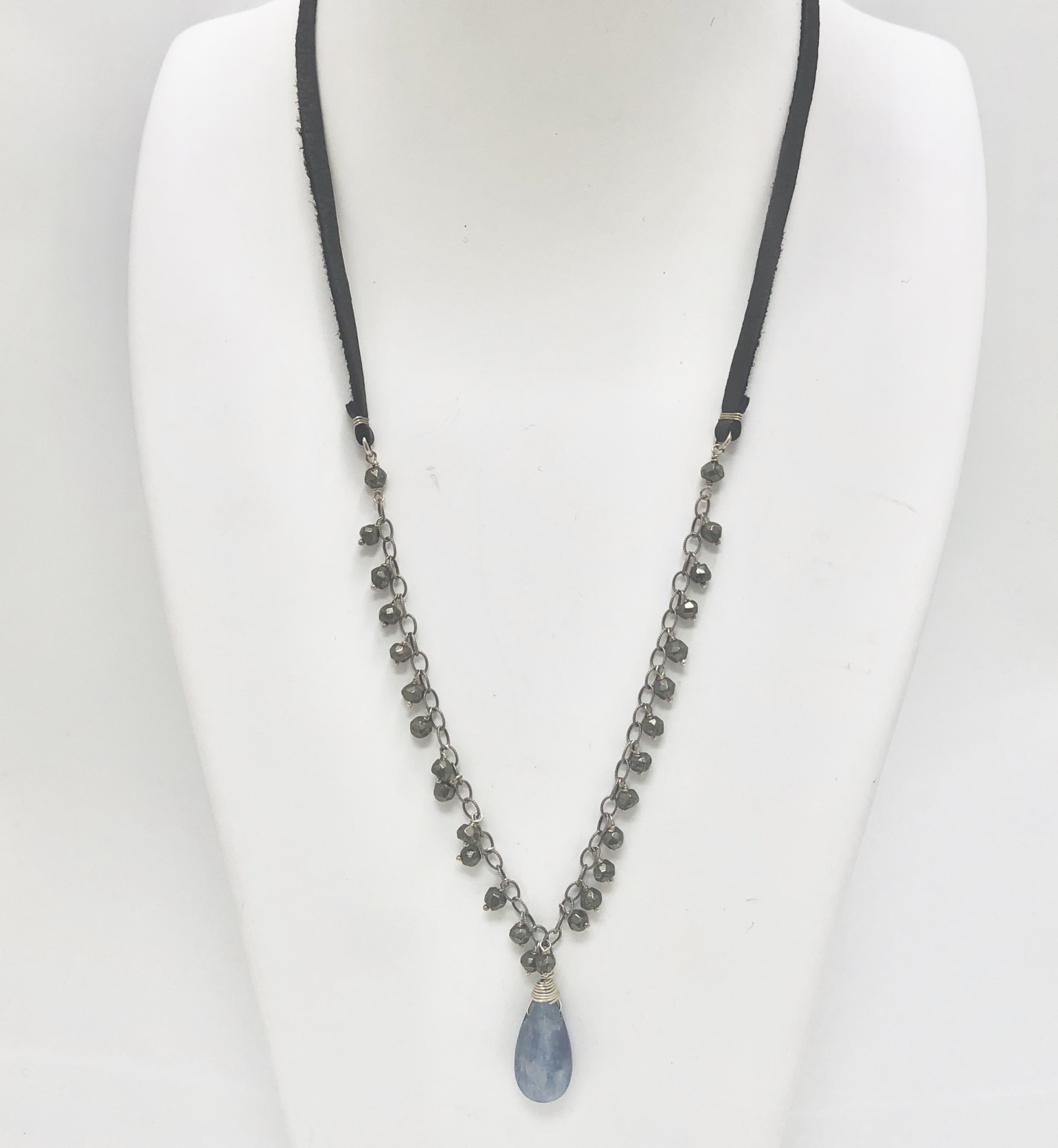 Pyrite Dangles with Kyanite Droplet Necklace