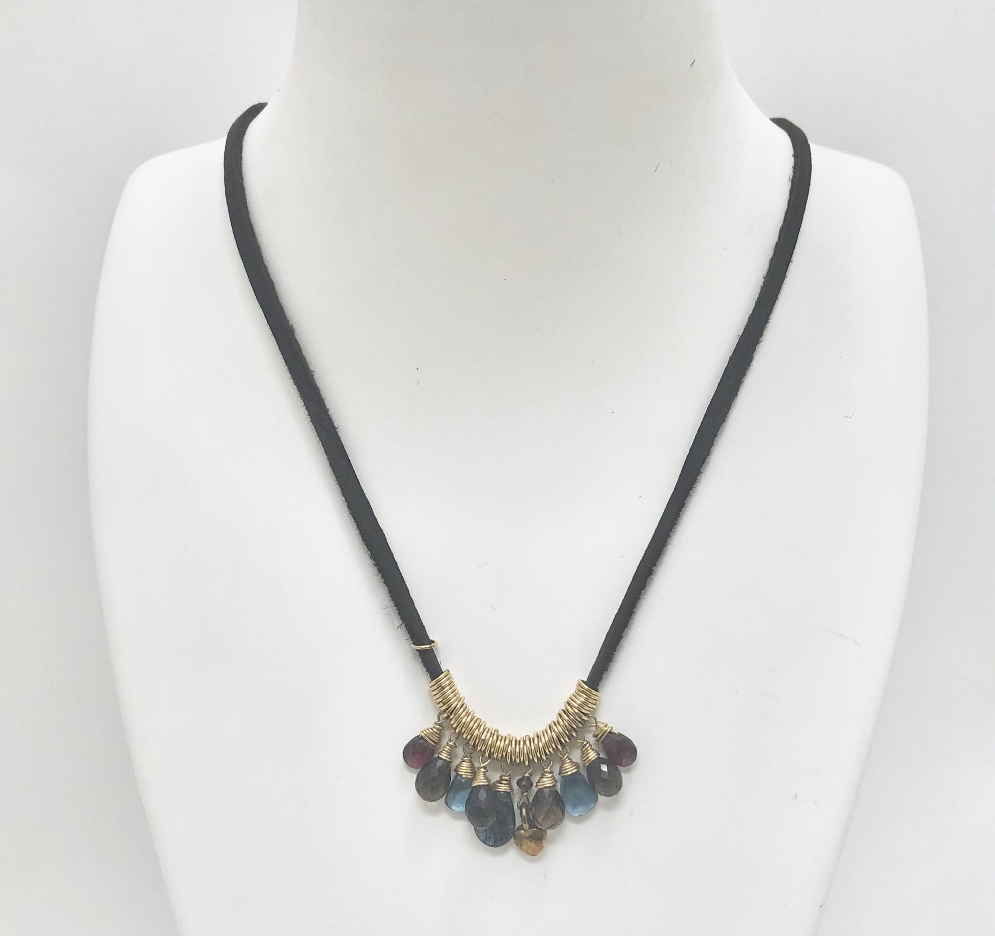 Droplets of Garnet, Smoky Quartz, London Blue Topaz and Kyanite Necklace