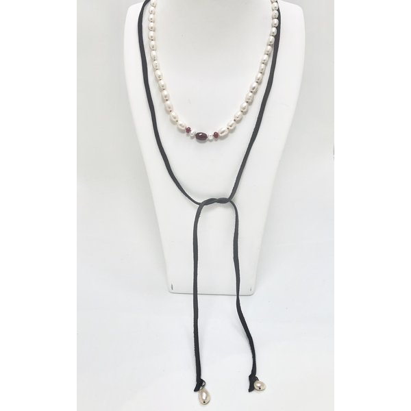 Freshwater Pearl and Ruby Lariat