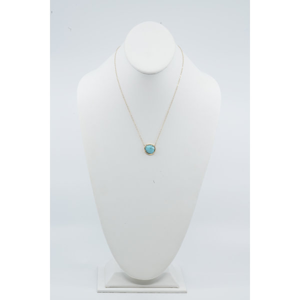 14K Turquoise Diamond Small Necklace