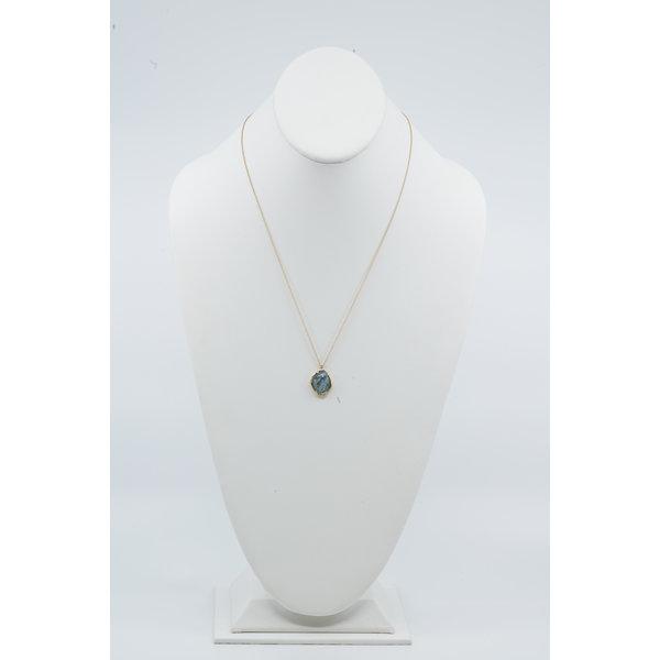 14K Aquamarine with Diamonds Necklace