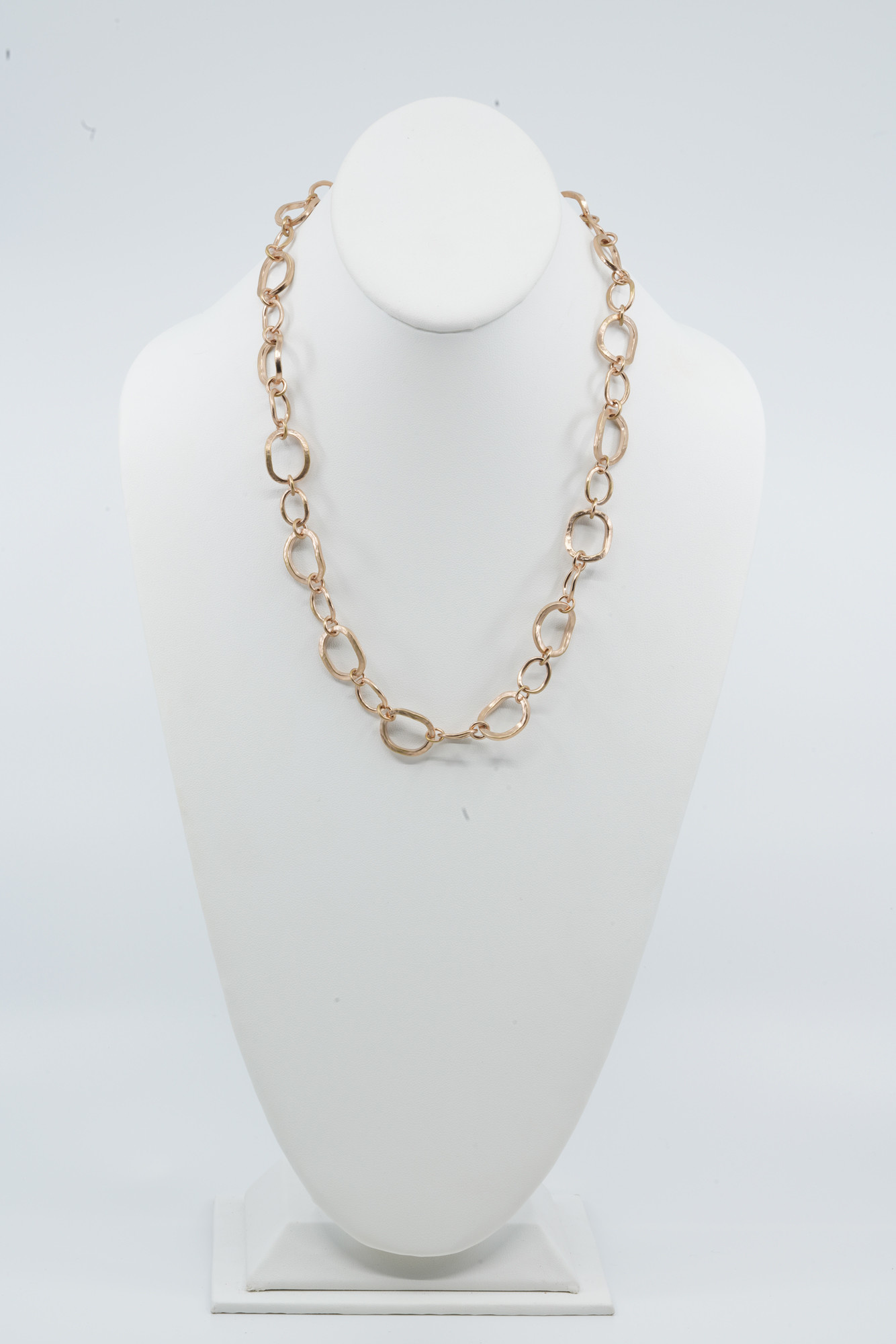 "24"" Chunky Link Necklace Rose Gold Plate"