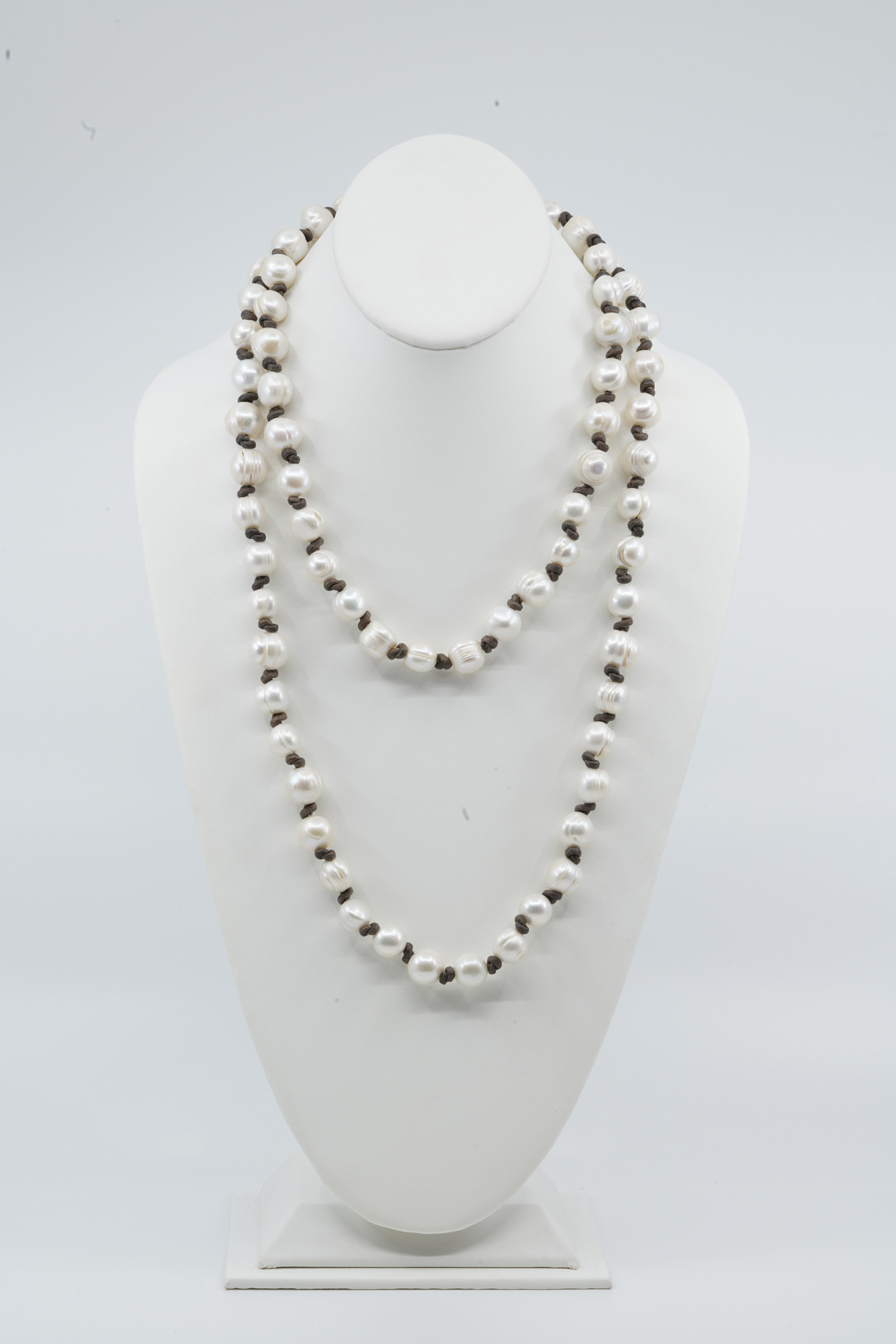 Long Pearls on Leather