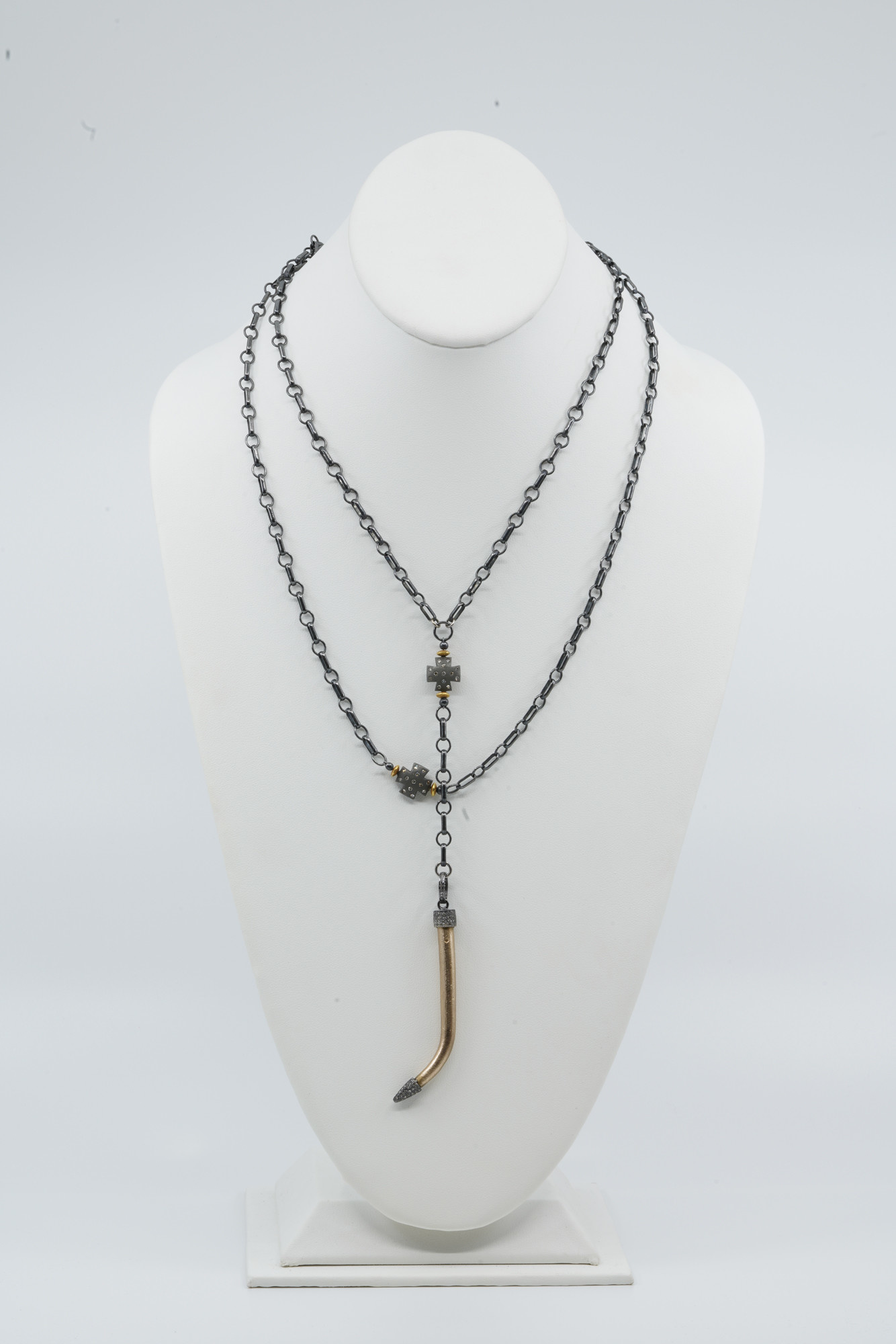 MLC Bronze Tusk / Ox Silver Cross Double