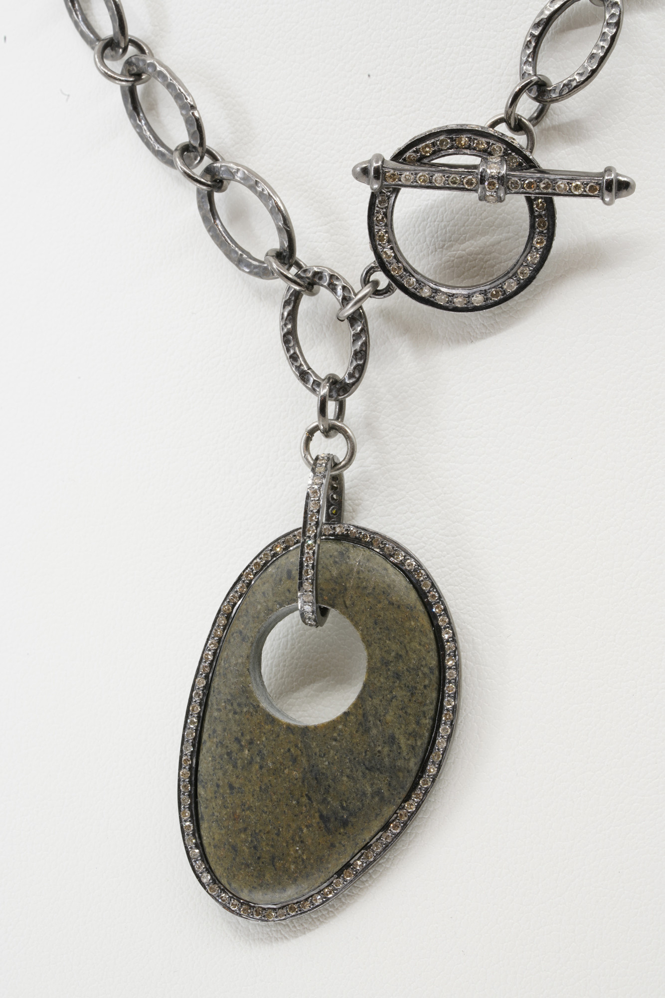 River Rock with Diamonds on Oxidized Silver Chain with Large Diamond Clasp