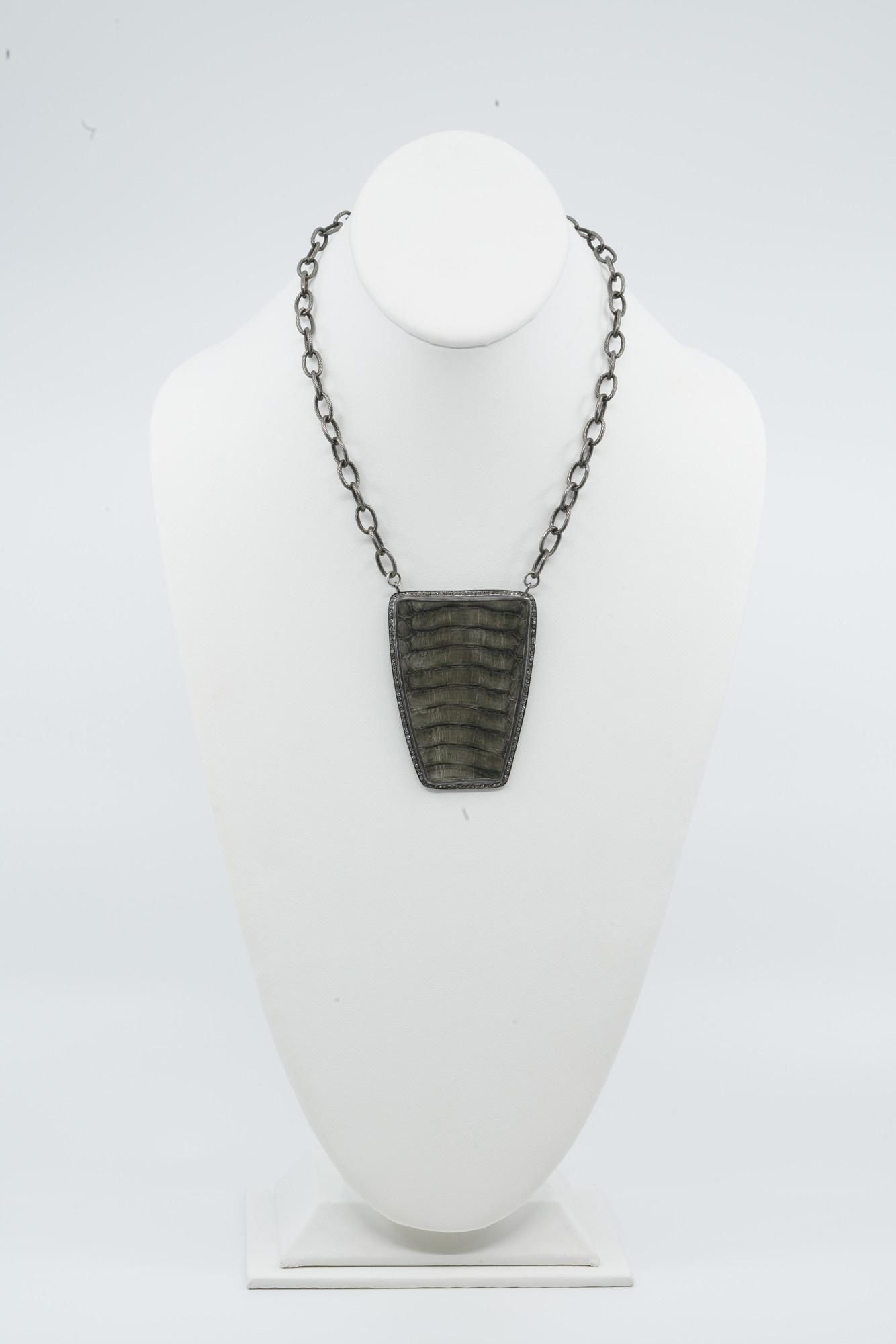 Large Python Belly Shield Necklace