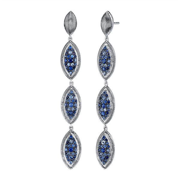 Sterling Silver Elongated Earring with Diamond & 18K Bezel