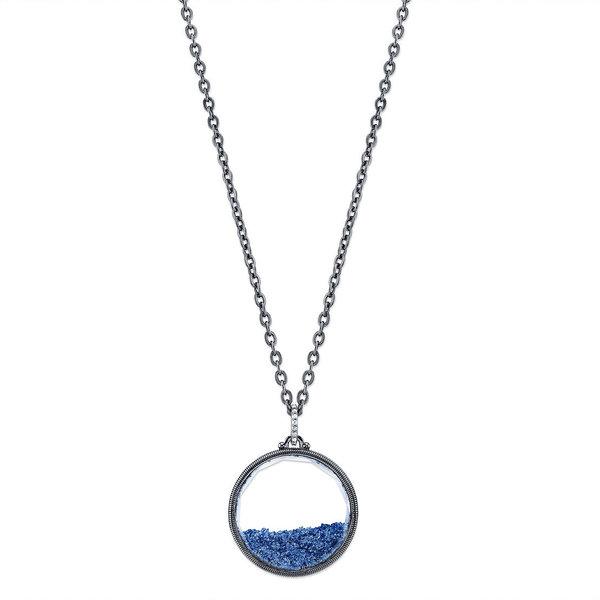 Round Aquarium Pendant with Graduated Blue and Diamond Detail
