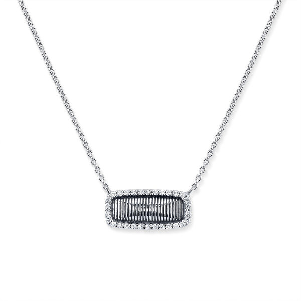 Sterling Silver Strie Samantha Pendant with White Diamond Detail