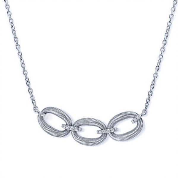 Sterling Silver Strie Open Ovals Pendant with Diamond Detail