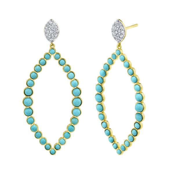 Turq Open Marquis Earring with White Diamond Detail