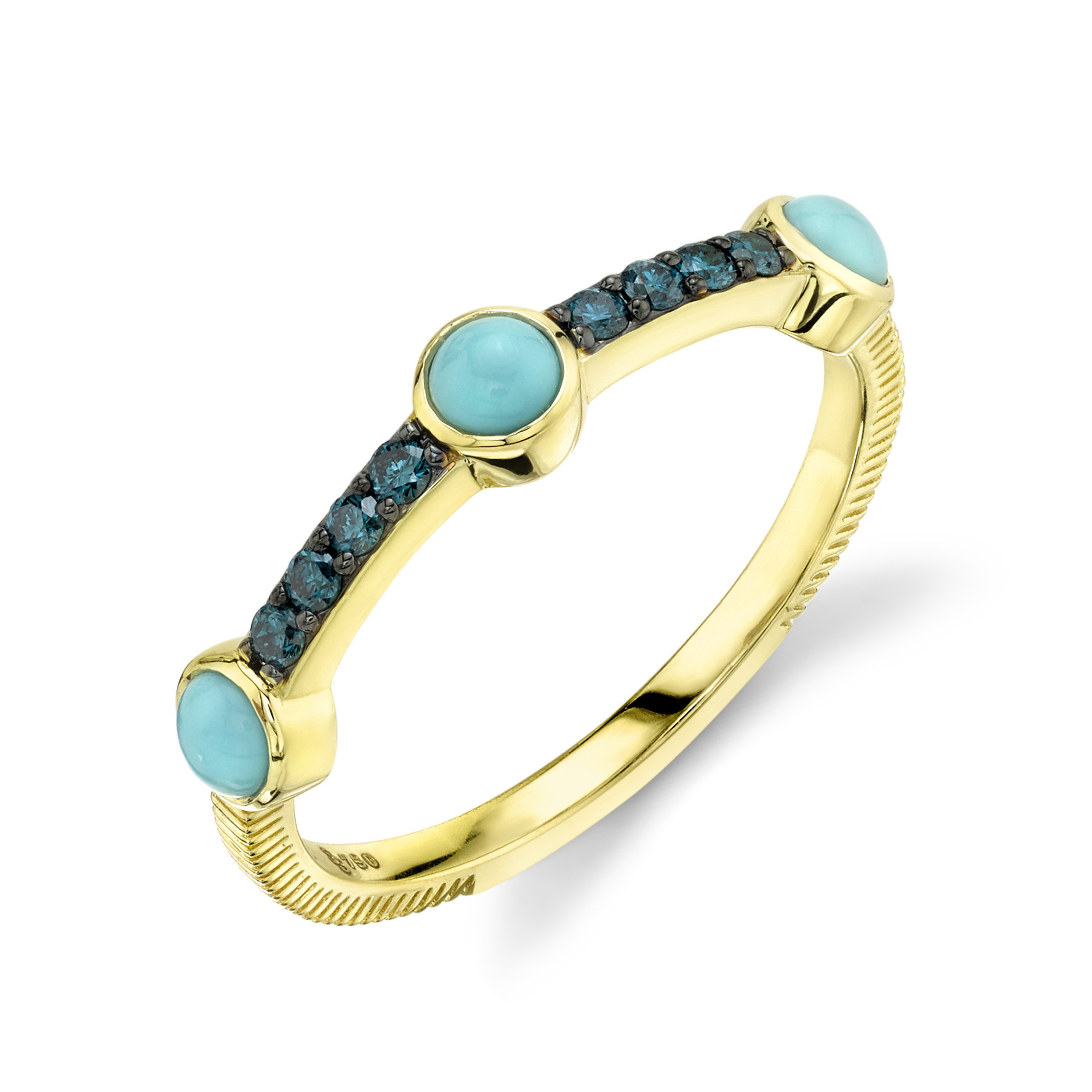 Turq Ring with Blue Diamond Detail