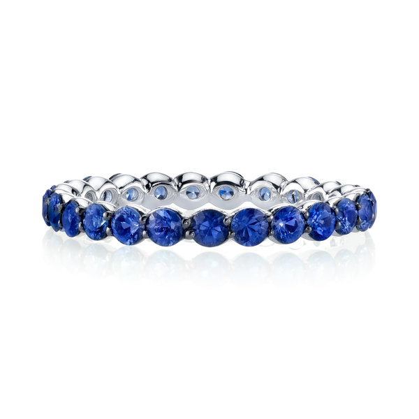 Sterling Silver Eternity Band with Blue Sapphire Detail
