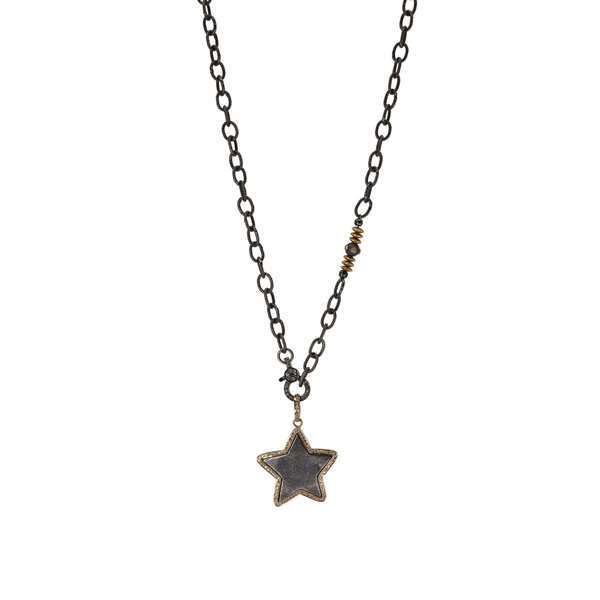 Silver Star w/ Gold & Diamonds on Ox Silver Chain