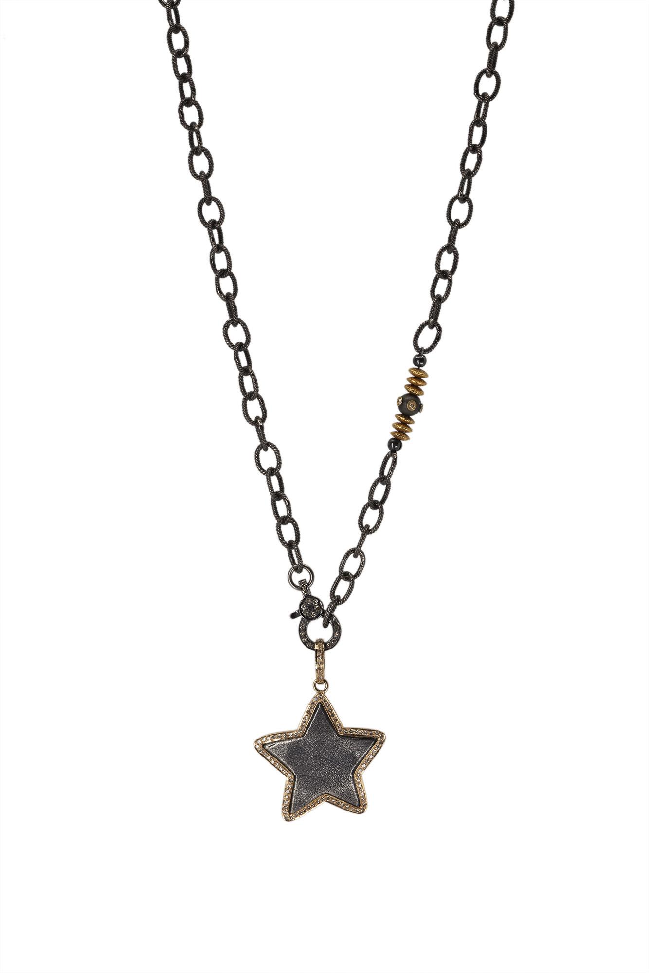 Silver Star w/ Gold & Diamonds on Ox Silver Chain