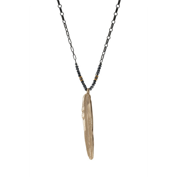 Bronze Feather on Ox Silver Chain