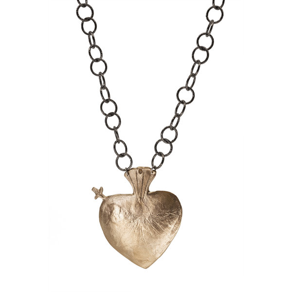 MLC Bronze Heart on Ox Silver Chain