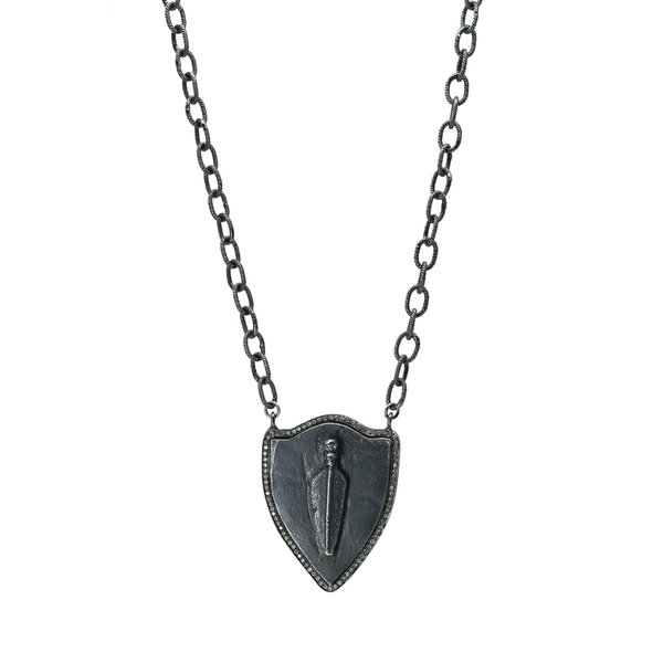 Silver Skull Shield w/ Diamonds on Ox Silver Chain