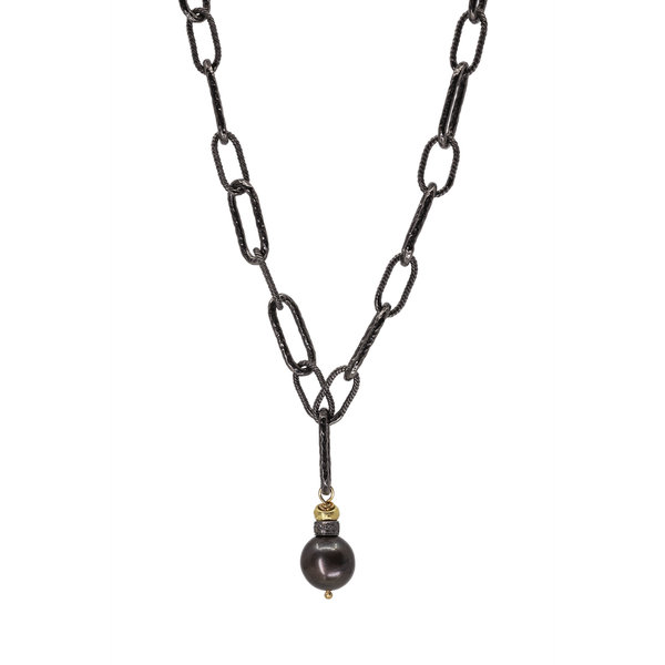 Tahitian Pearl w/ Gold & Silver on Ox Silver Chain