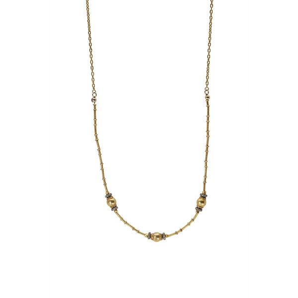 Gold + Diamond Beads on 24K Gold Chain
