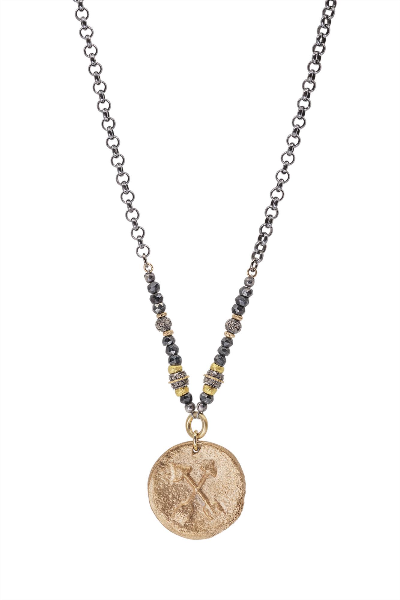 Bronze Crossed Arrows on Ox Silver