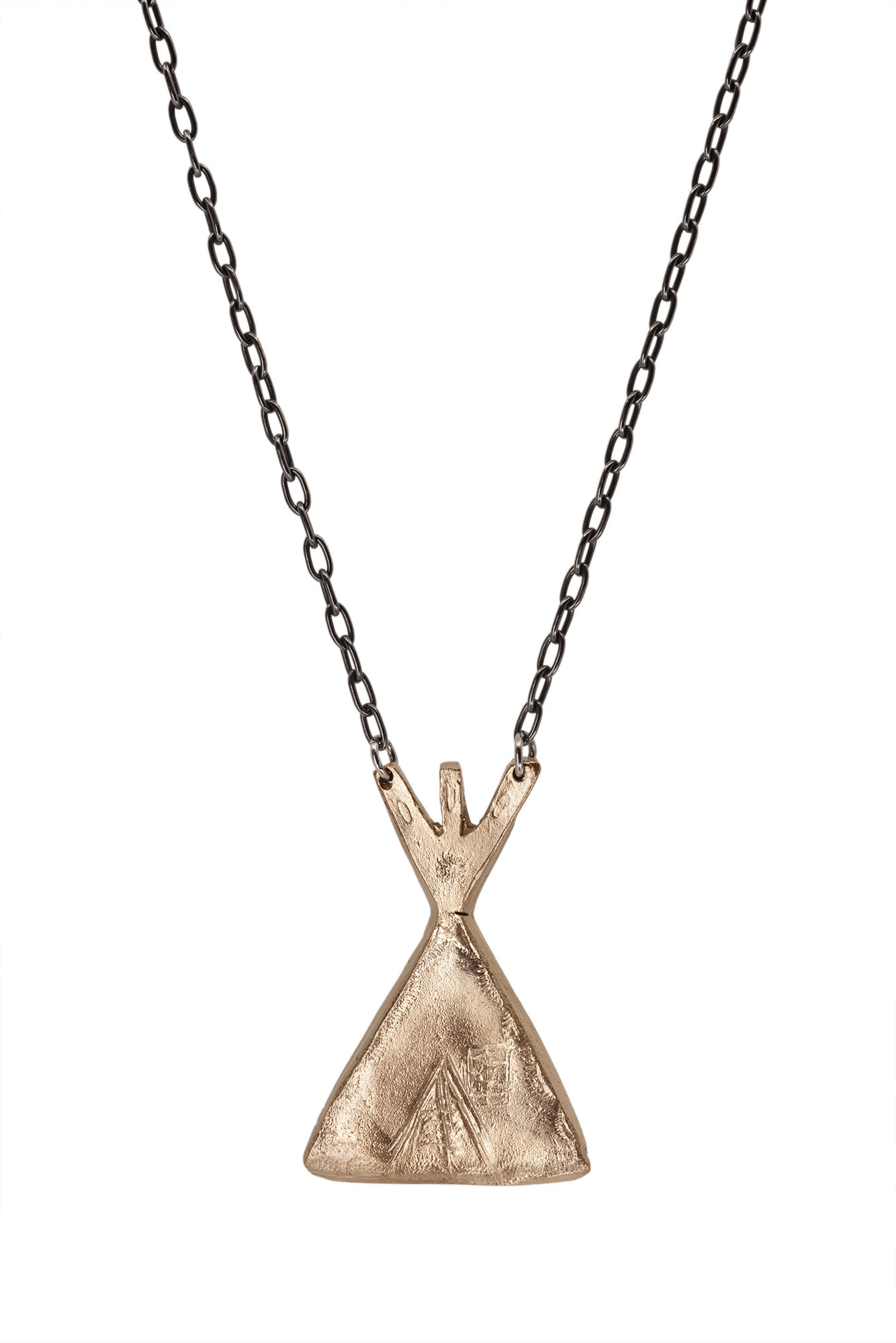 Bronze Tipi on Ox Silver Chain
