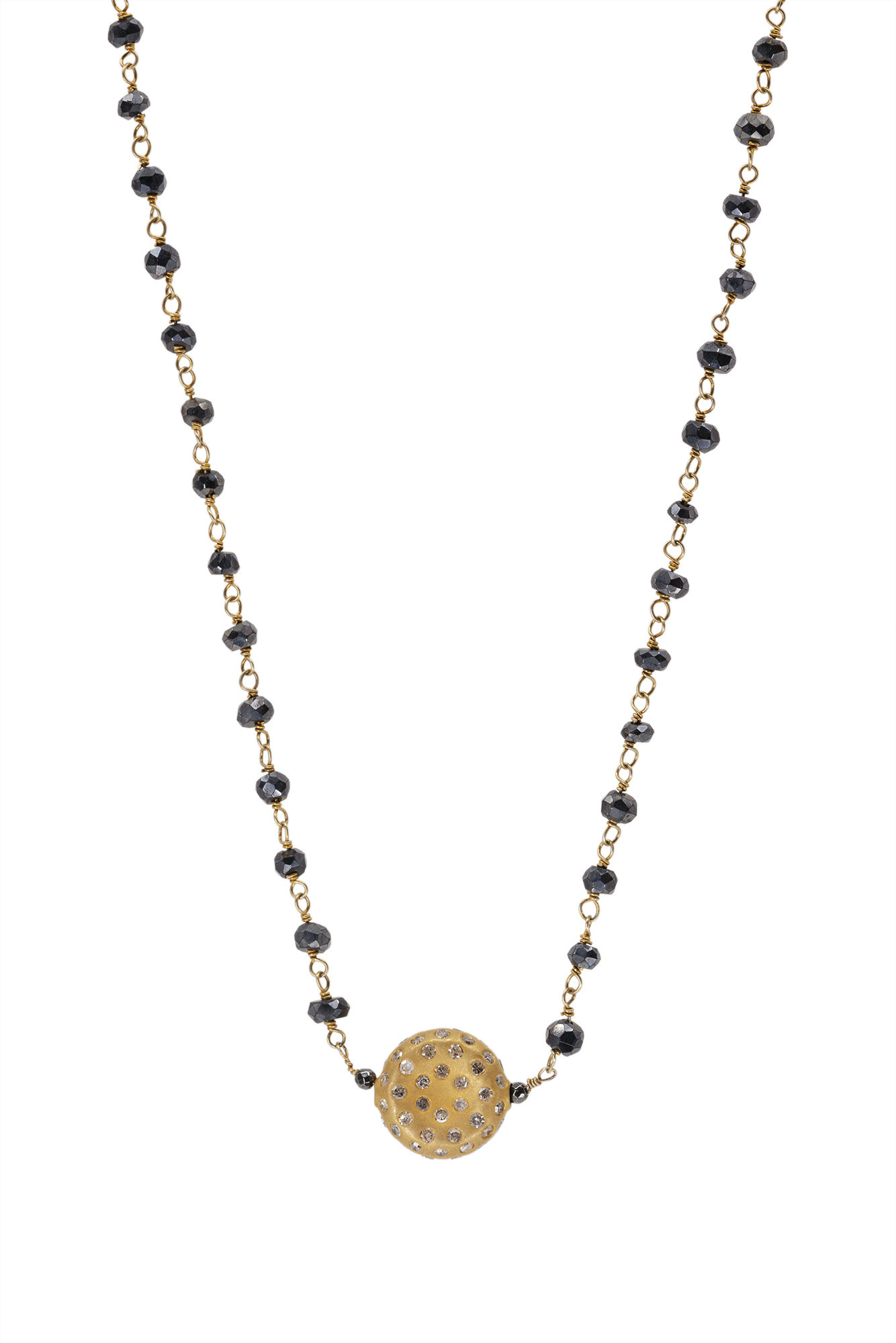 Sapphire & Gold Vermeil Chain with Pave Diamond Gold Pendant Necklace