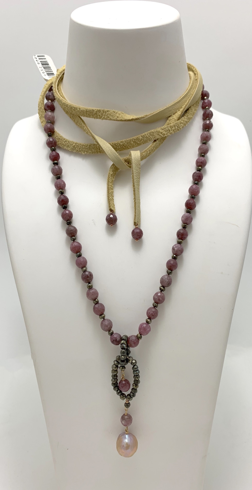 Faceted Pink Tourmaline and Pyrite