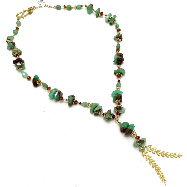 Chrysophrase/Citrine Lariat Necklace