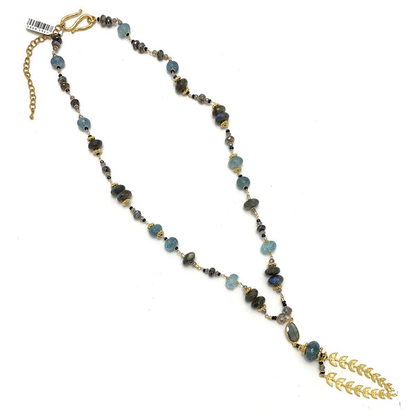 Lab Aqua Leaf Lariat Necklace