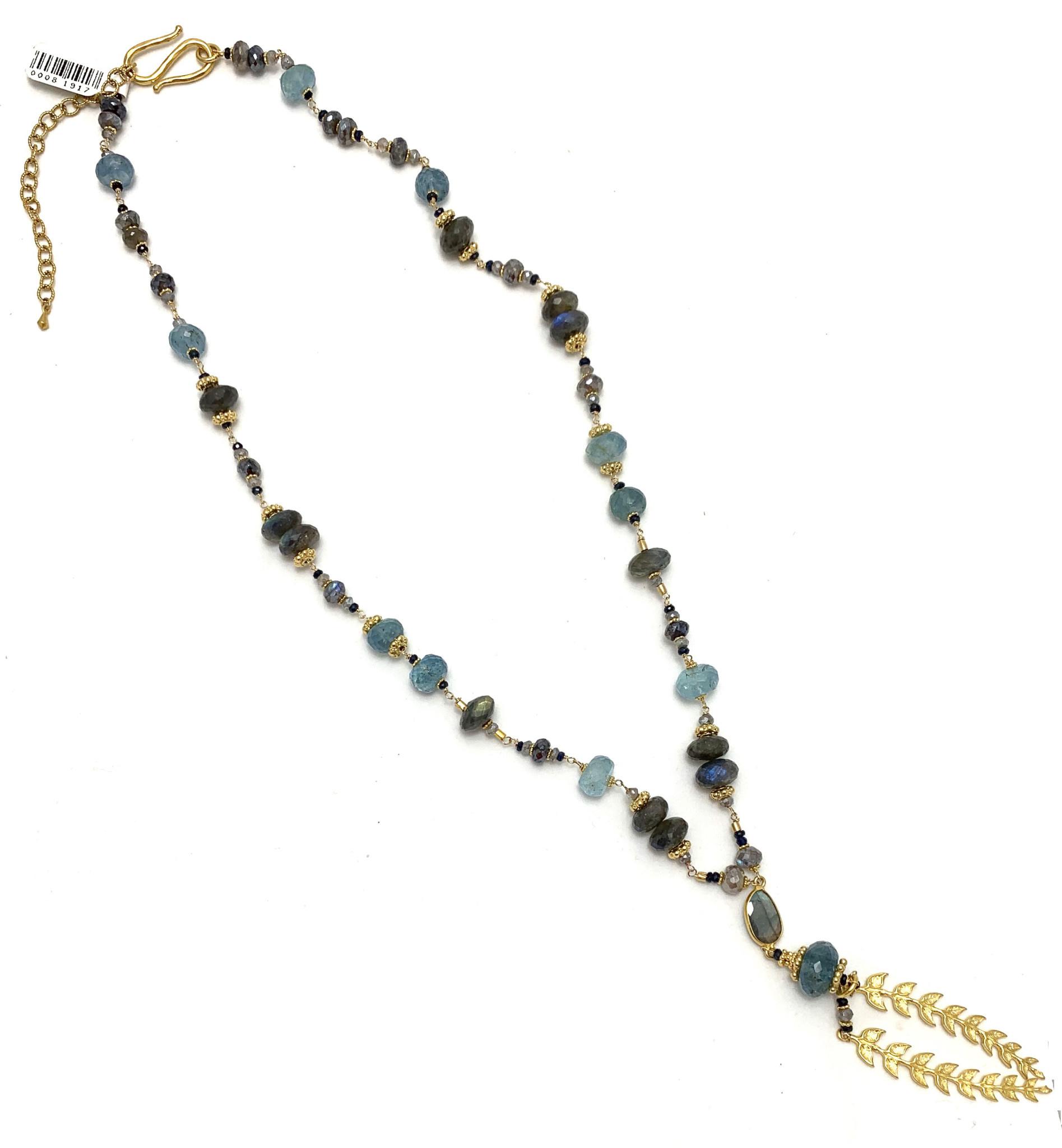 Lab Aqua Leaf Lariat Necklace