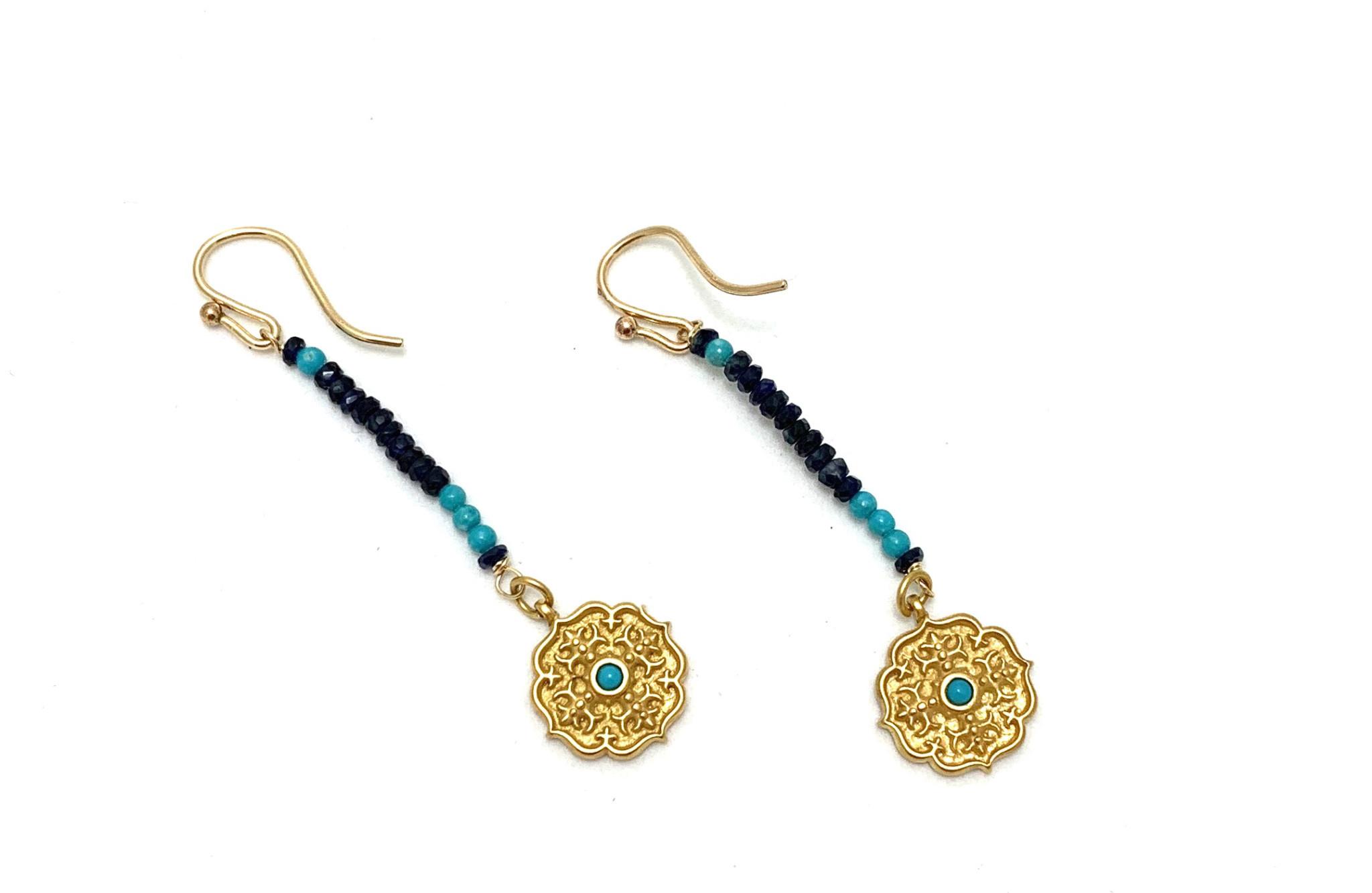 Sapphire/Turq Tiny Moroccan Cross Earrings