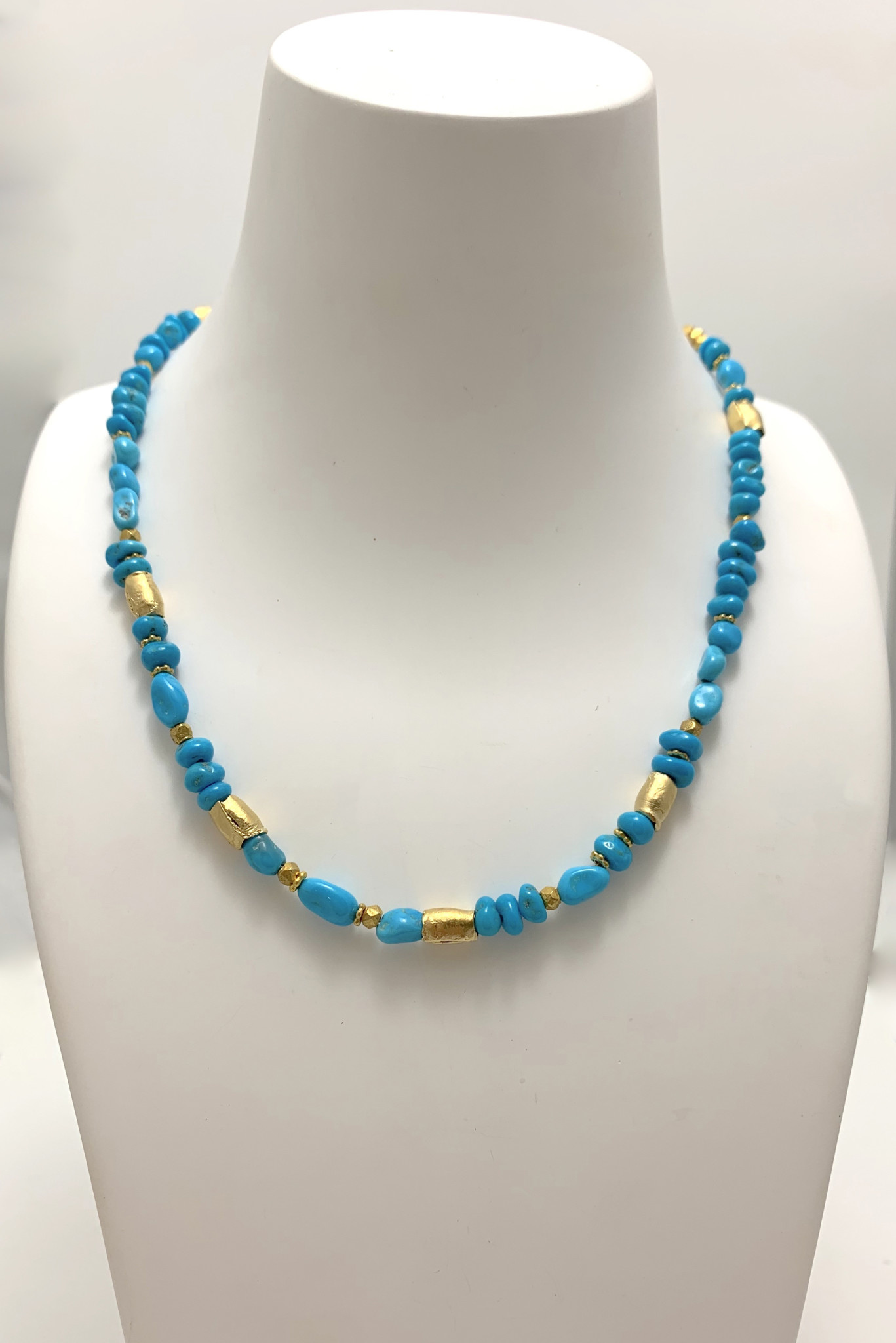 Turq Bead/Gold Necklace