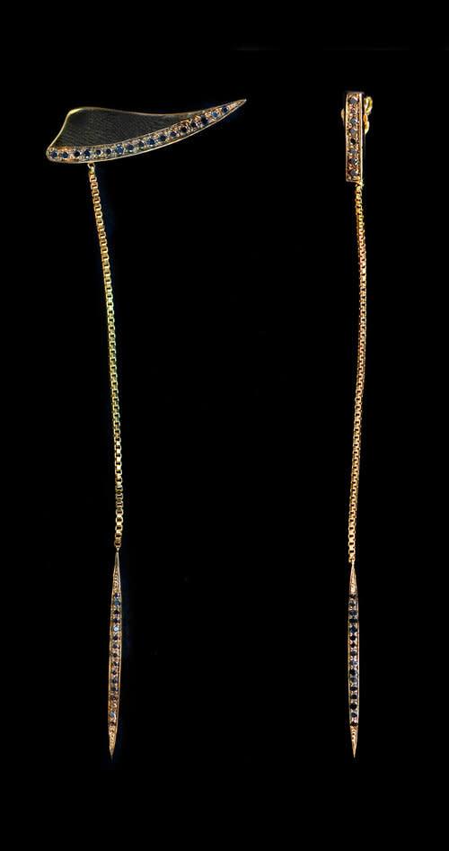 18K Gold Plated Black Diamond Salve Dangle Earrings